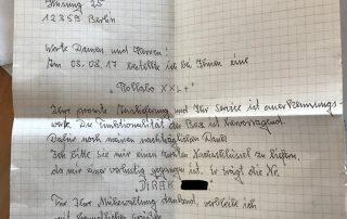 handschriftlicher Brief eines zufriedenen Kunden