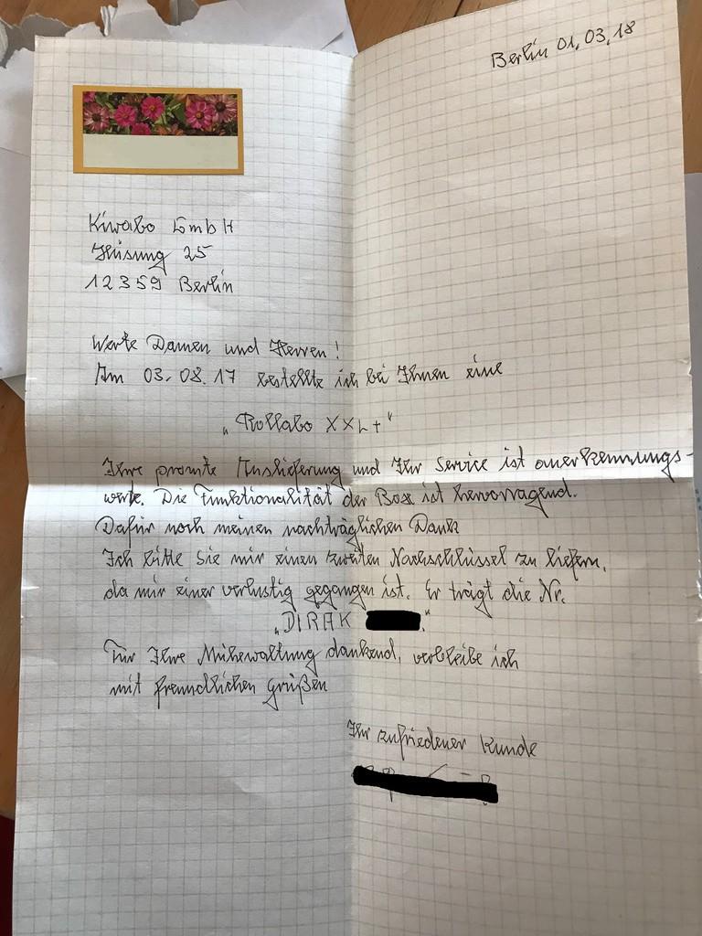 handschriftlicher Brief eines zufriedenen Kunden des Rollabo XXL+ 2018