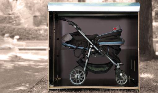 Wie viel Platz hat eine Kinderwagenbox L? kiwabo L Volumenbild