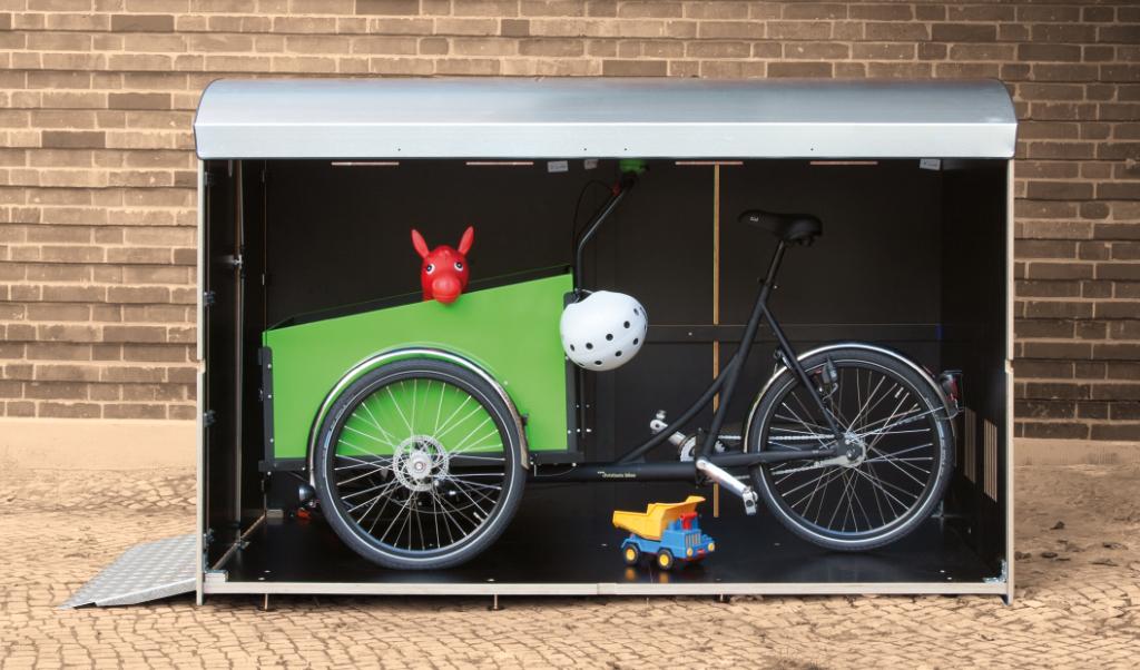 Wie viel passt in eine Fahrradbox XL? Eine Volumenbild farabo XL für breite Lastenräder