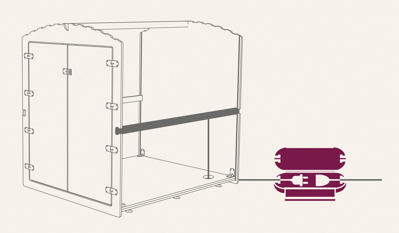 Skizze der Vorbereitung des Stromanschlusses bei einer Box