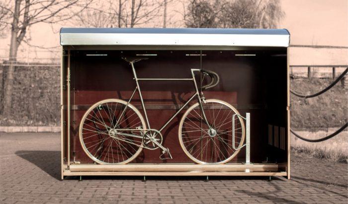 Wie viel Platz hat eine Fahrradbox L? Ein Volumenbild farabo L für ein Fahrrad oder E-Bike
