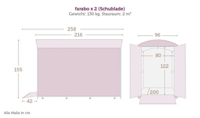 Maße der Fahrradbox farabo X 2 mit Schublade mit den Daten