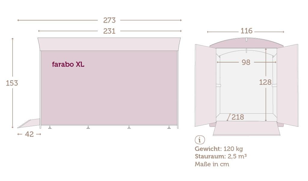 Maße der Fahrradbox farabo XL mit Daten