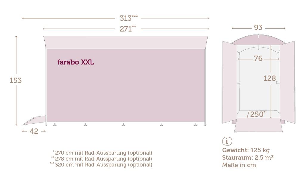Maße der Fahrradbox farabo XXL mit Daten