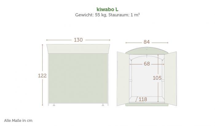 Maße der Kinderwagenbox kiwabo L mit Daten