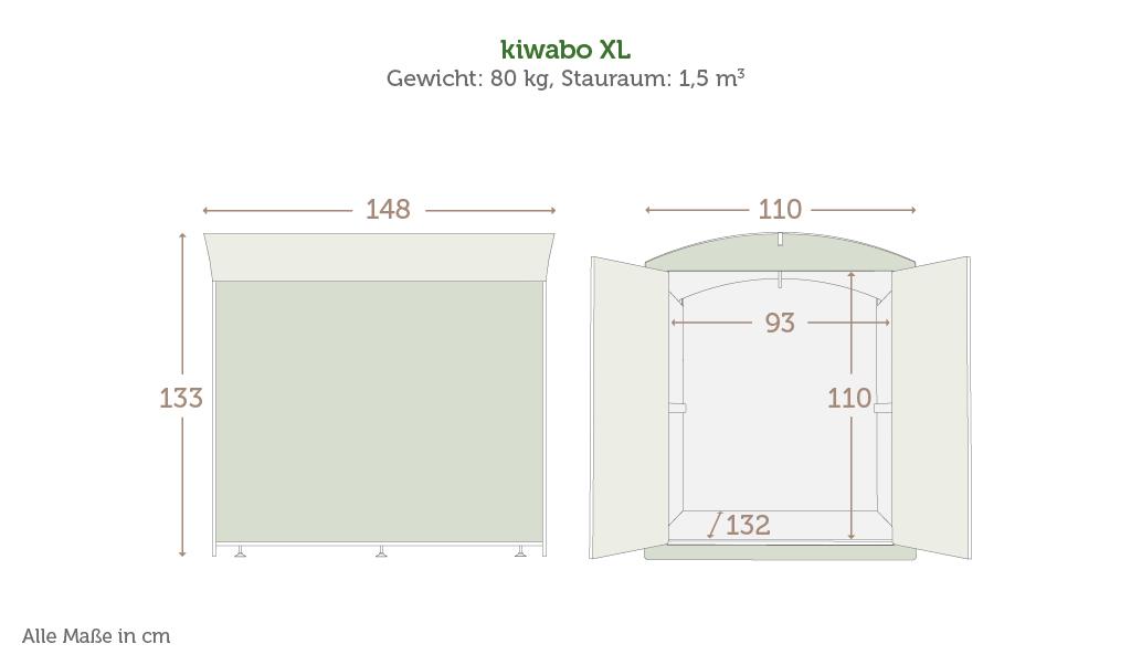 Maße der Kinderwagenbox kiwabo xl mit Daten