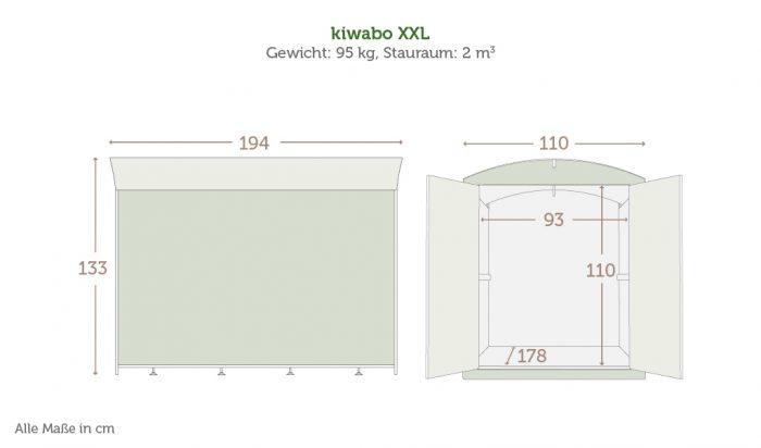 Maße der Kinderwagenbox kiwabo XXL mit Daten
