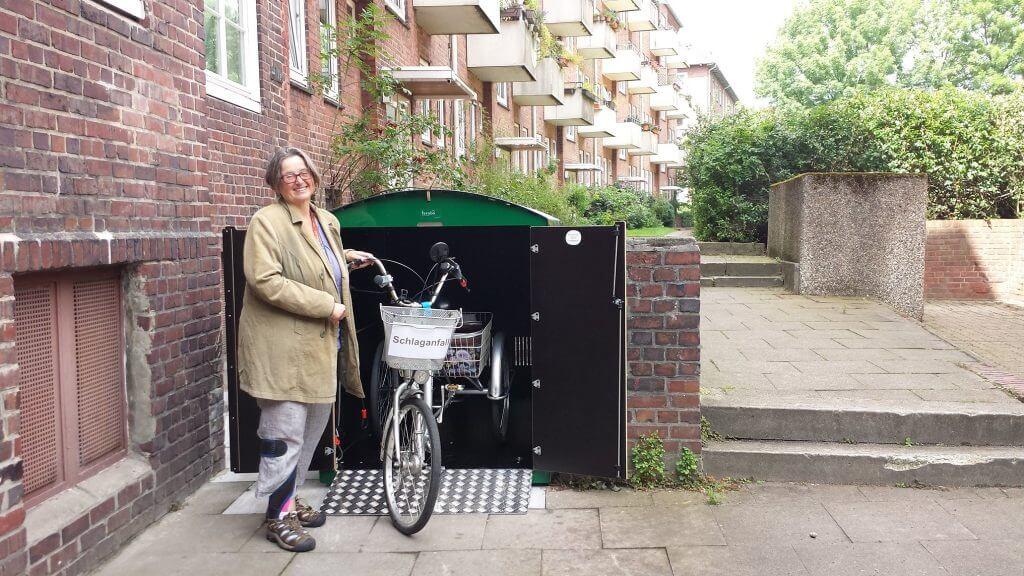 grüne Fahrradbox