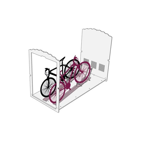 Skizze des Produktes Fahrradbox Farabo X 2 mit Einfahrtschienen